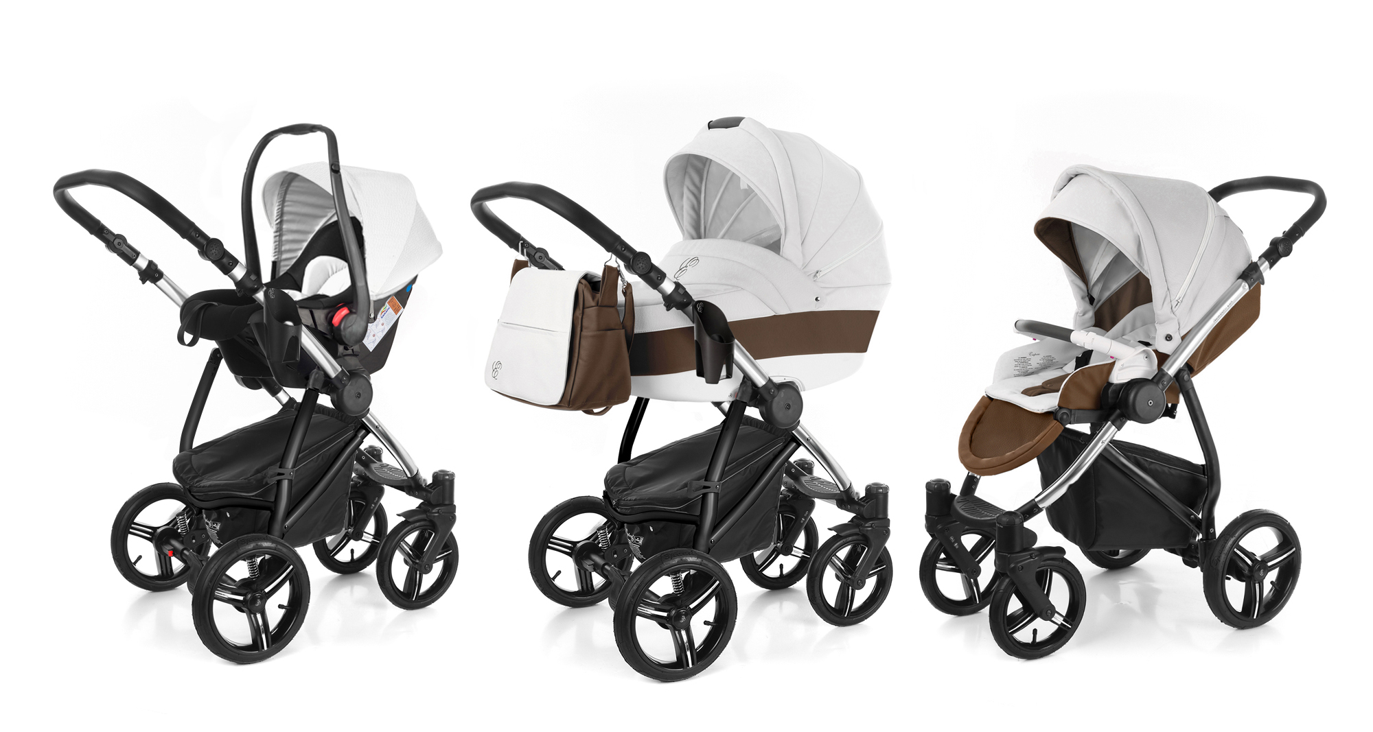 Коляска 3 в 1 Esspero Grand Newborn Lux (шасси Chrome) Canella leatherette