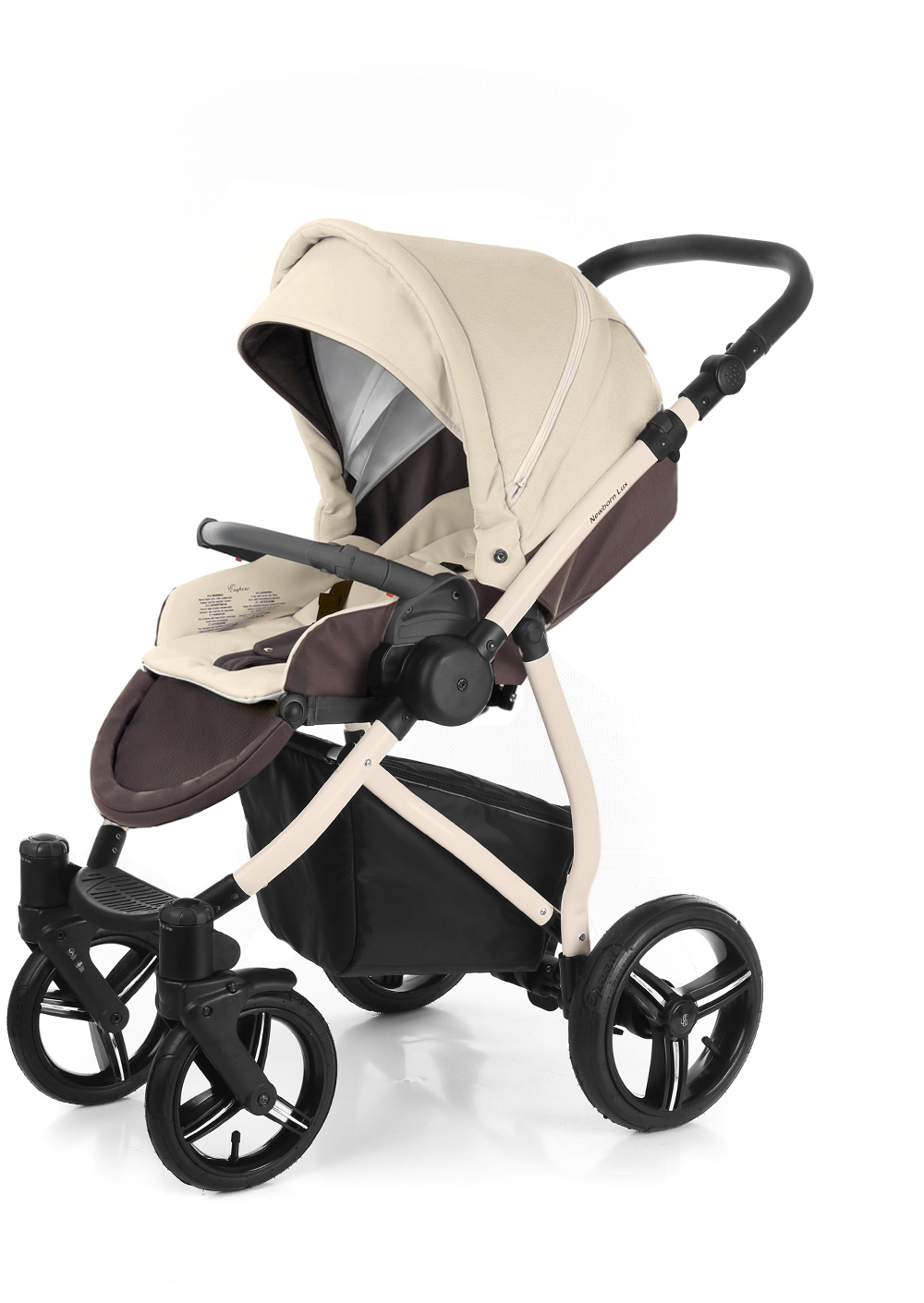 Прогулочная коляска Esspero Grand Newborn Lux (шасси Beige) Cream leatherette