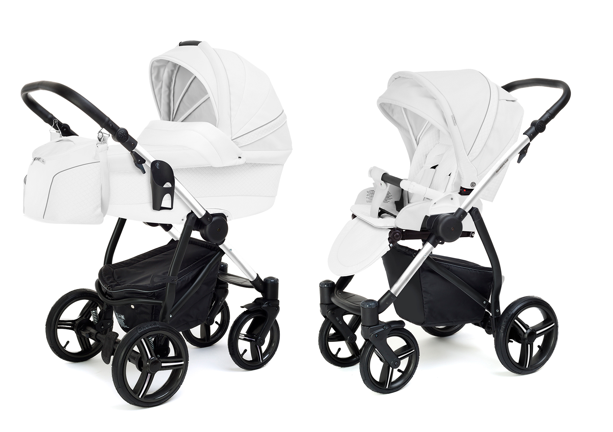 Коляска 2 в 1 Esspero Grand Newborn Lux (шасси Chrome) Nappa White