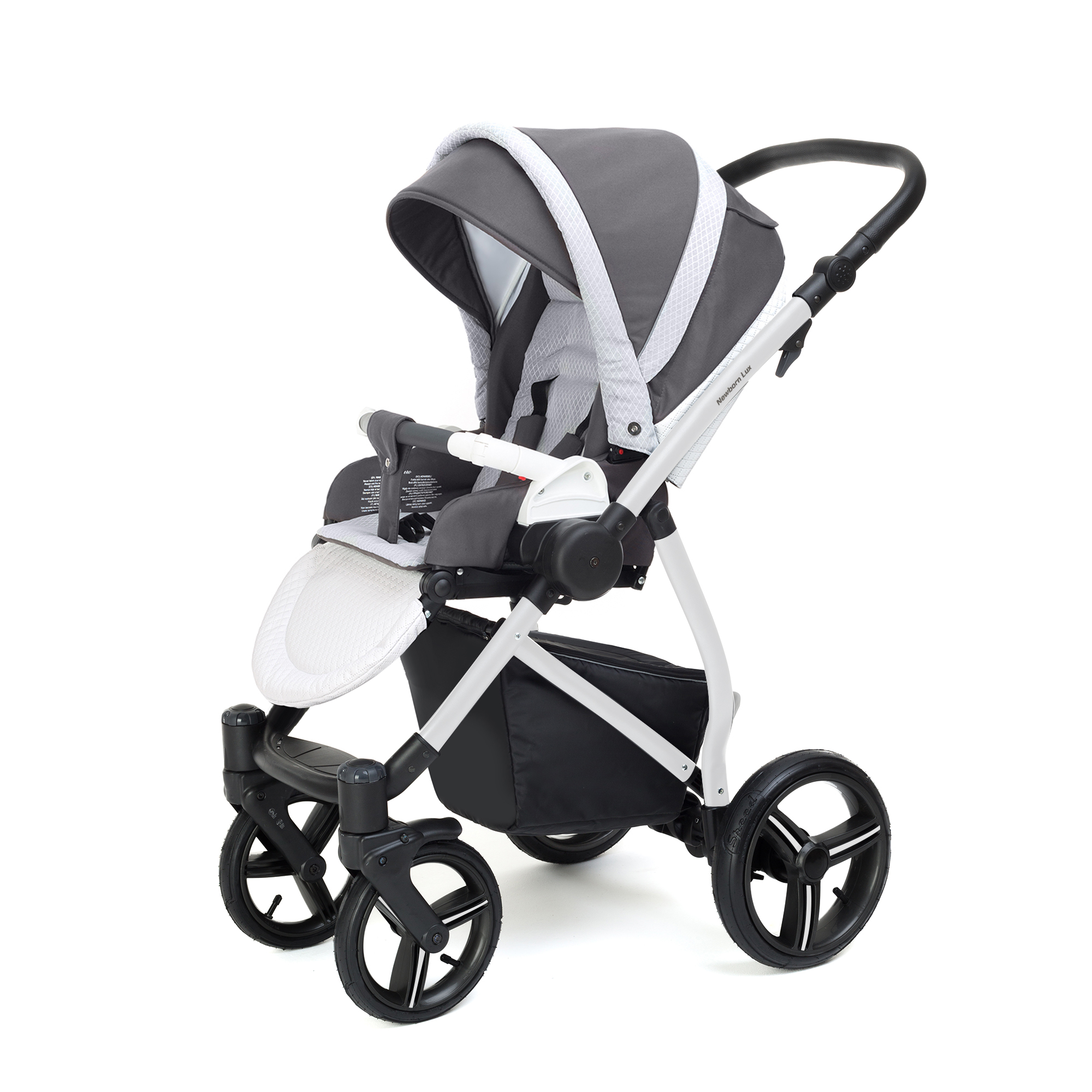 Прогулочная коляска Esspero Grand Newborn Lux (шасси White) Royal Light Grey