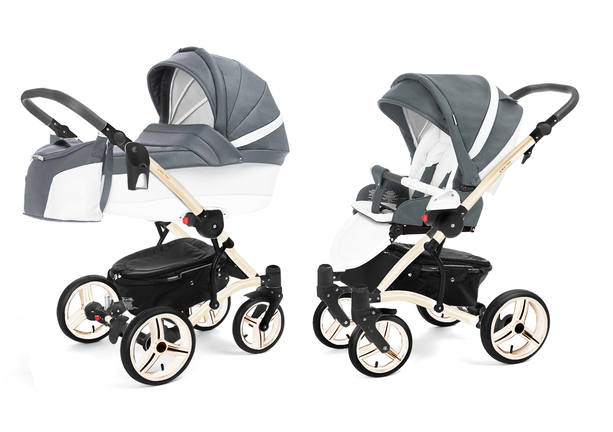 Коляска 2 в 1 Esspero Grand Tour (шасси Beige) Nappa Blue Grey