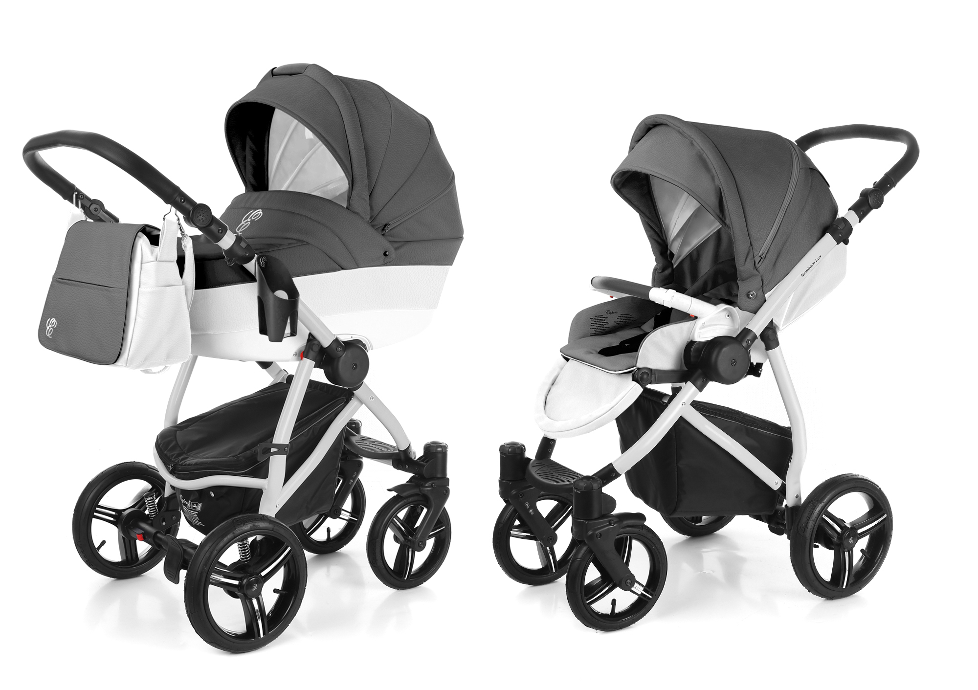 Коляска 2 в 1 Esspero Grand Newborn Lux (шасси Grey) Grafite leatherette
