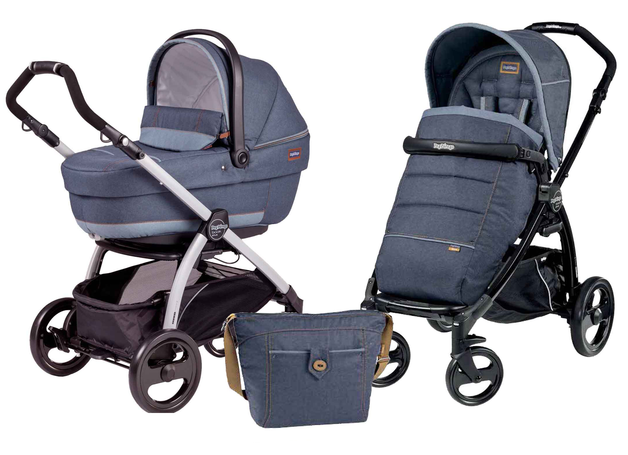 Коляска 2 в 1 Peg Perego Book Plus XL Modular Blue Denim
