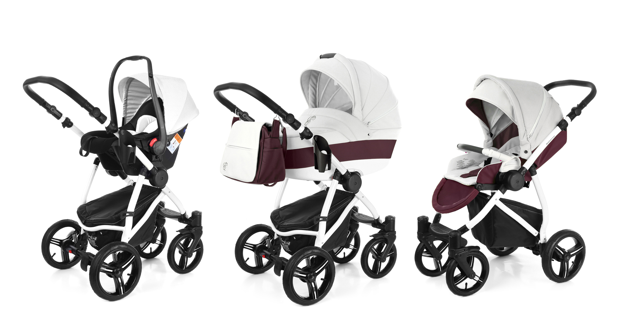 Коляска 3 в 1 Esspero Grand Newborn Lux (шасси White) Maroon leatherette