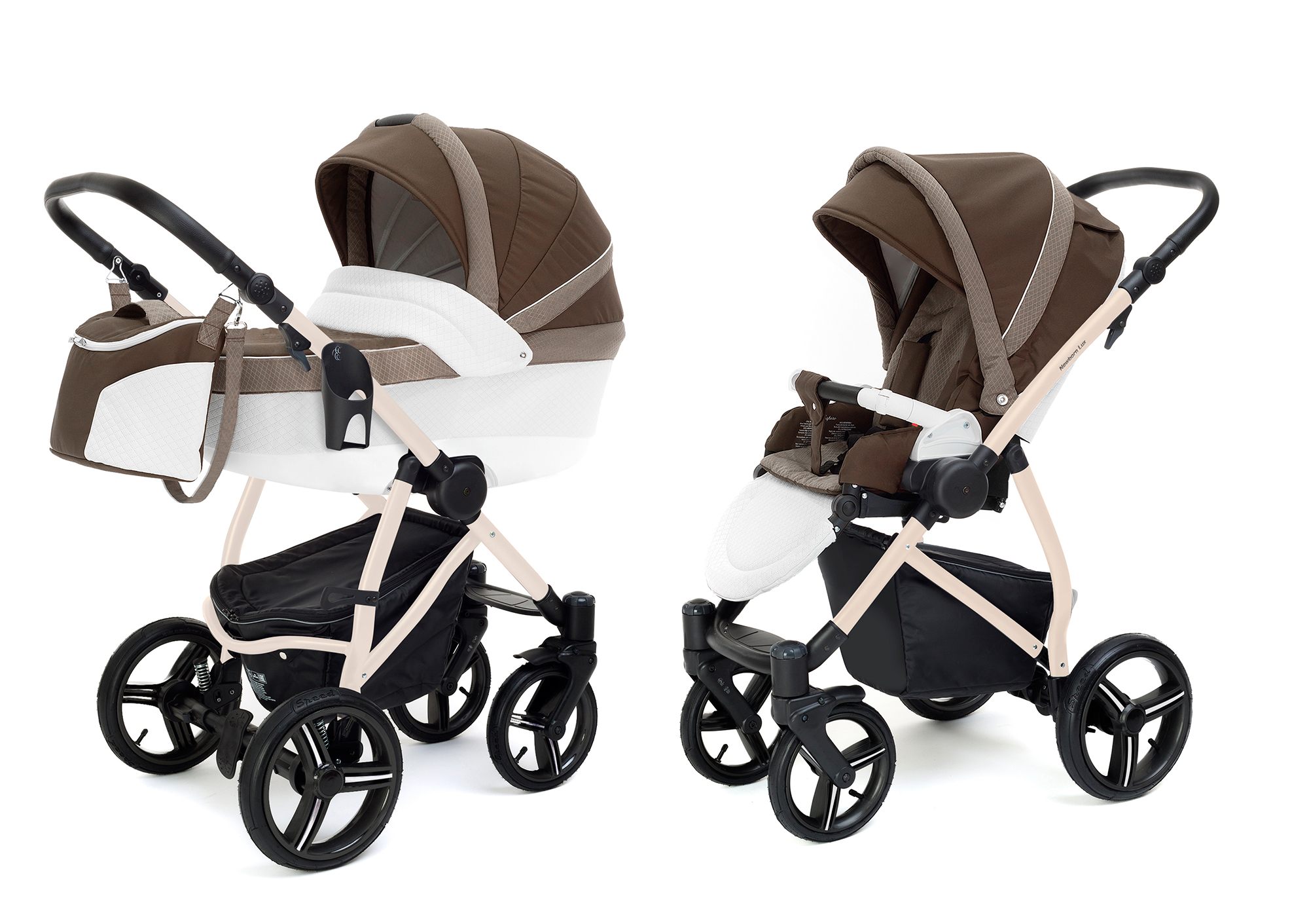 Коляска 2 в 1 Esspero Grand Newborn Lux (шасси Beige) Royal Brown