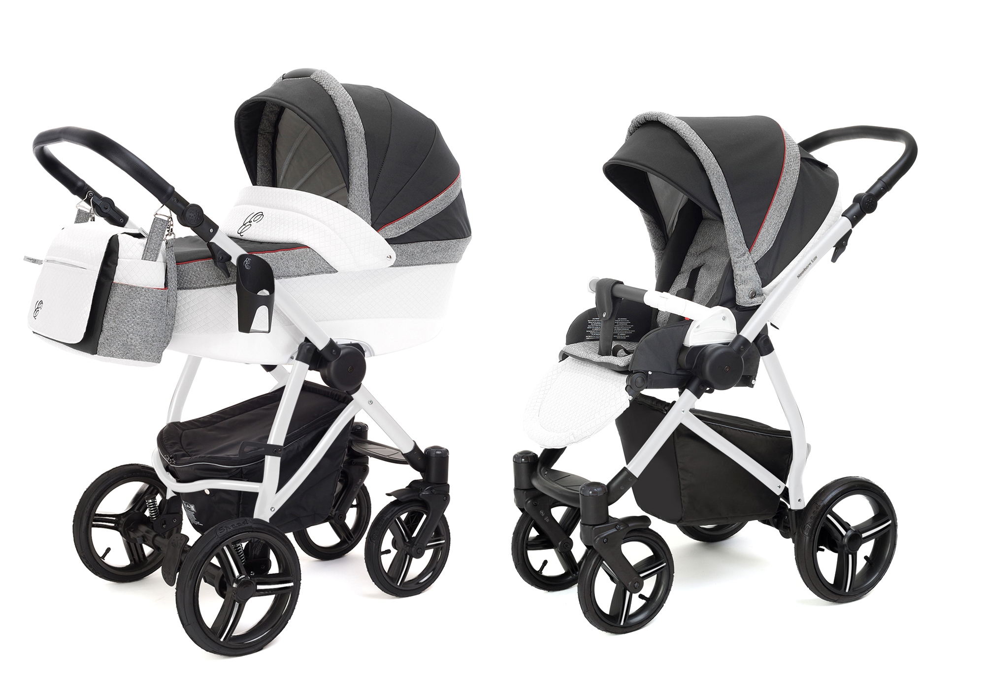 Коляска 2 в 1 Esspero Grand Newborn Lux (шасси White) Royal Grey