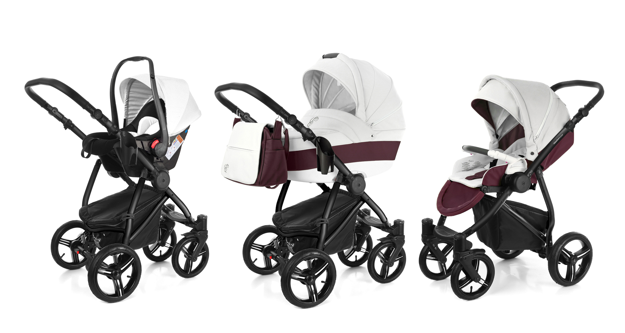 Коляска 3 в 1 Esspero Grand Newborn Lux (шасси Black) Maroon leatherette