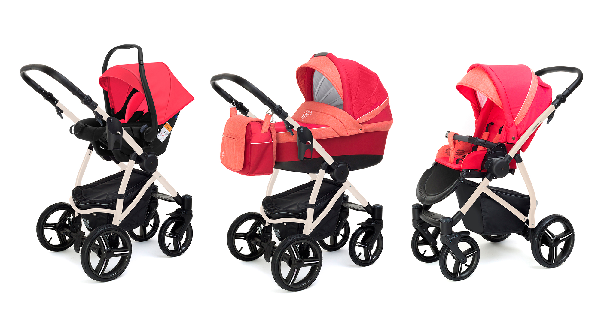 Коляска 3 в 1 Esspero Grand Newborn Lux (шасси Beige) Red Sunset