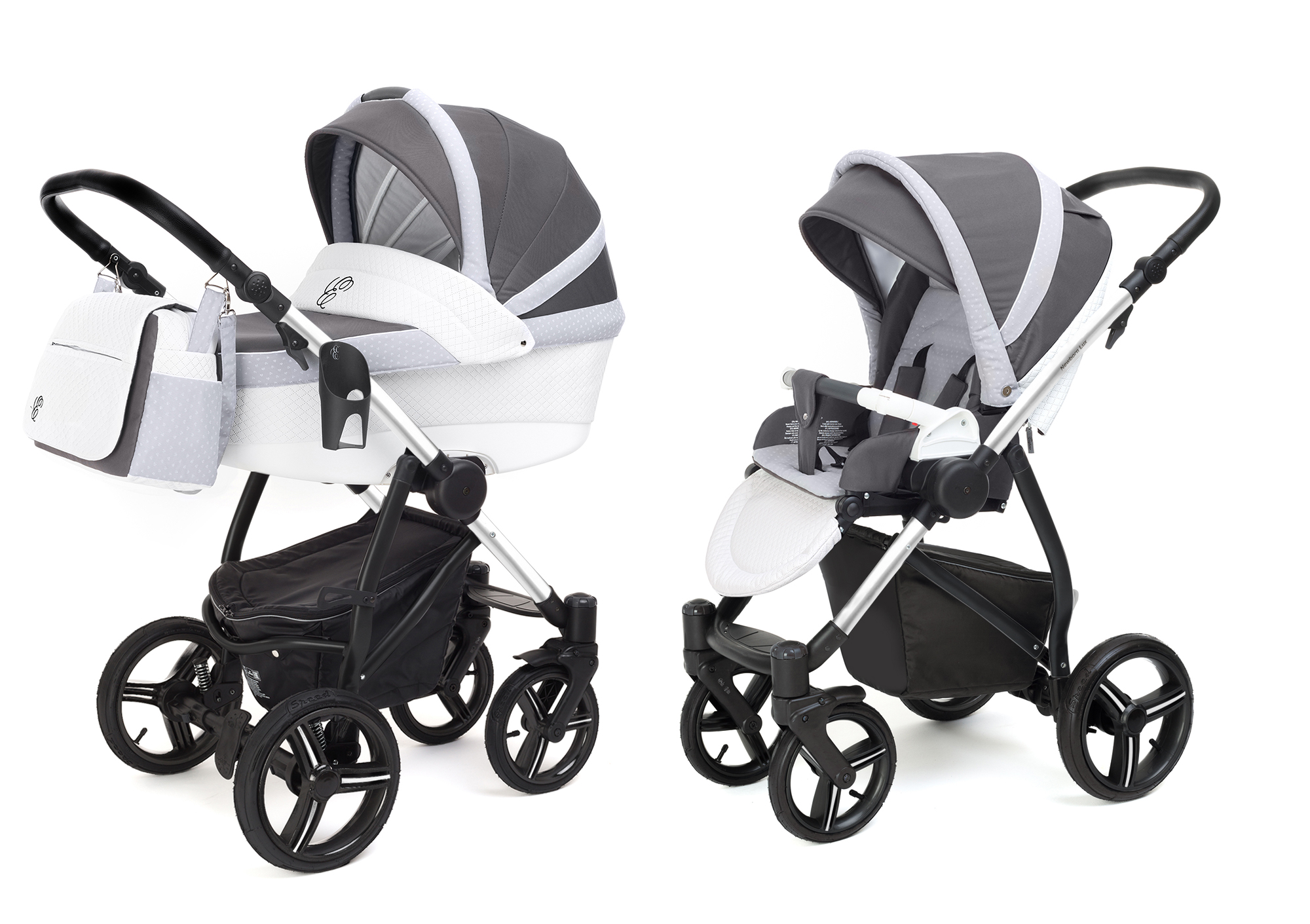 Коляска 2 в 1 Esspero Grand Newborn Lux (шасси Chrome) Royal Silver