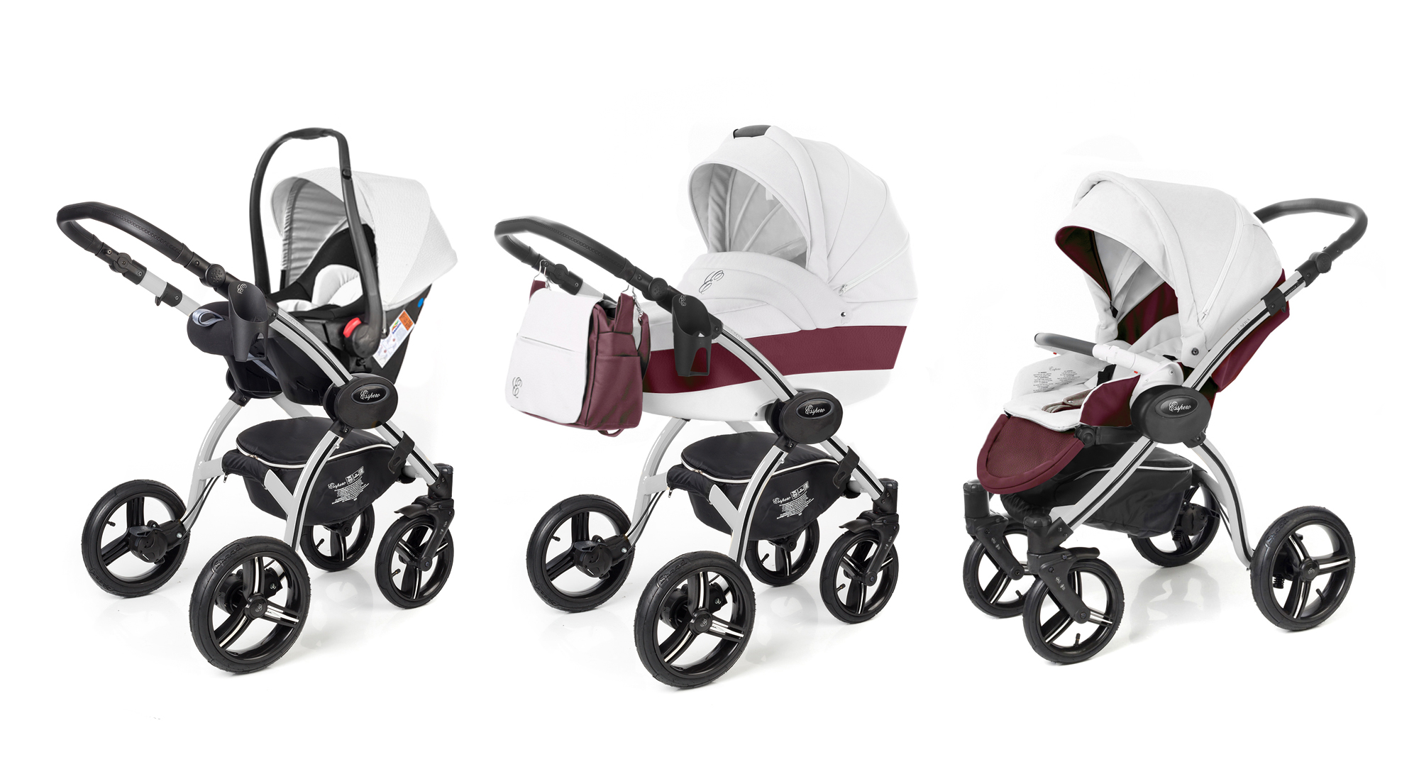 Коляска 3 в 1 Esspero Grand I-Nova (шасси Grey) Maroon leatherette