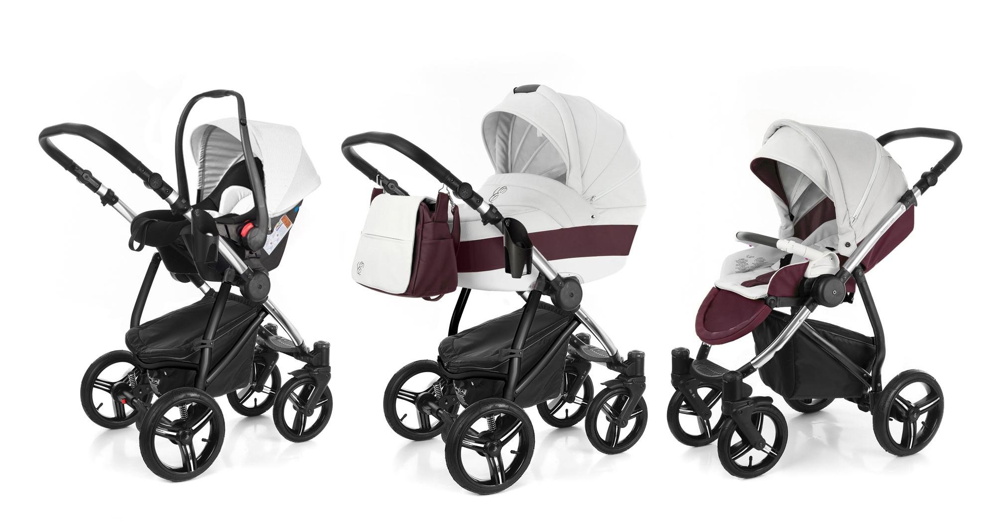 Коляска 3 в 1 Esspero Grand Newborn Lux (шасси Chrome) Maroon leatherette