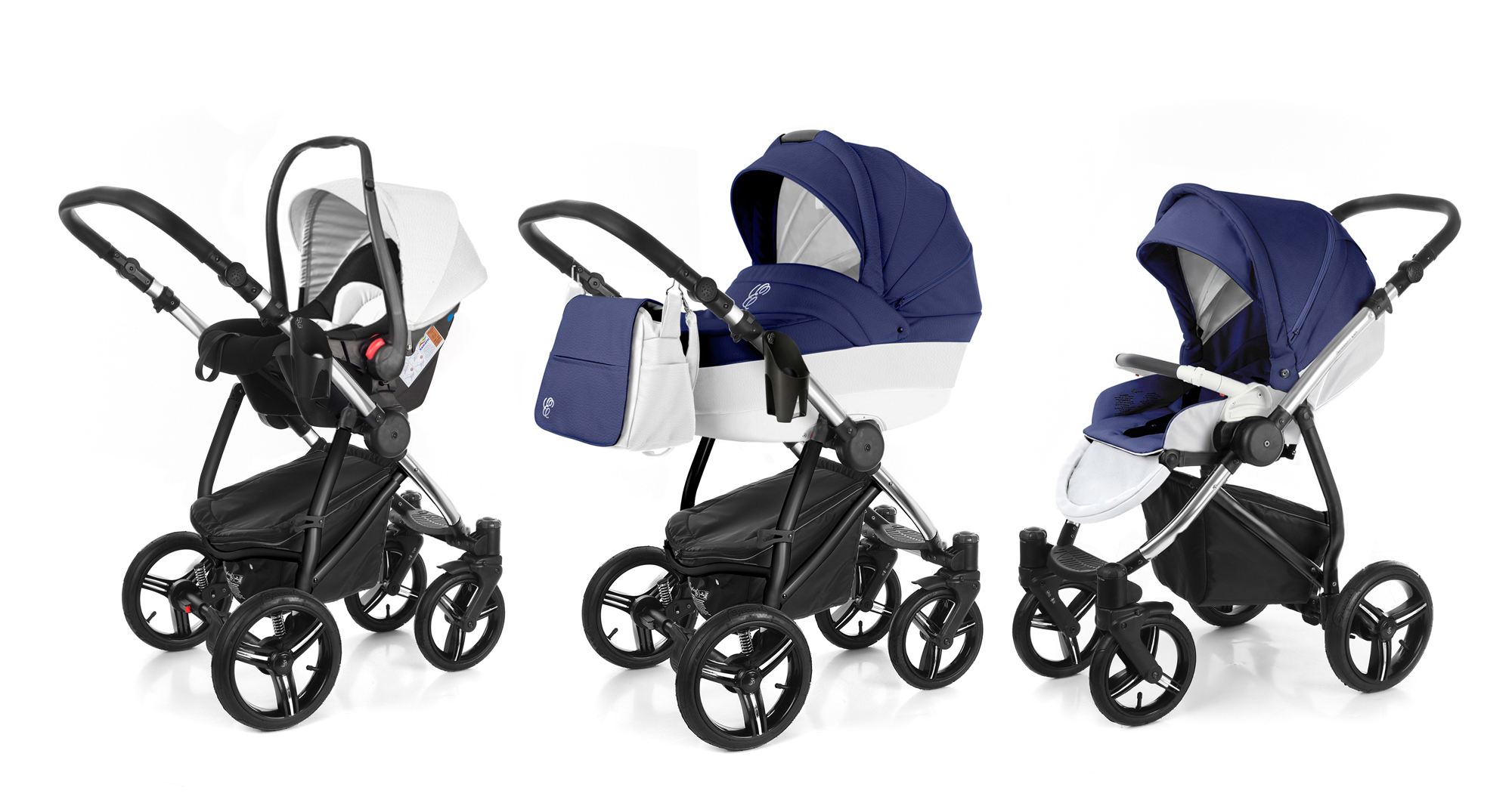 Коляска 3 в 1 Esspero Grand Newborn Lux (шасси Chrome) Mar leatherette