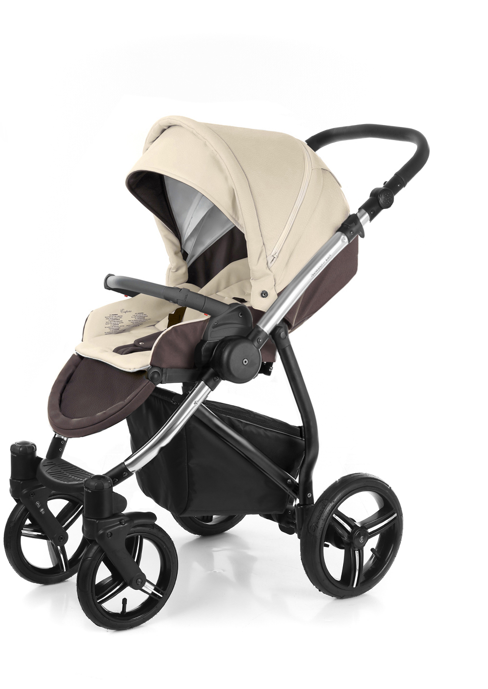 Прогулочная коляска Esspero Grand Newborn Lux (шасси Chrome) Cream leatherette