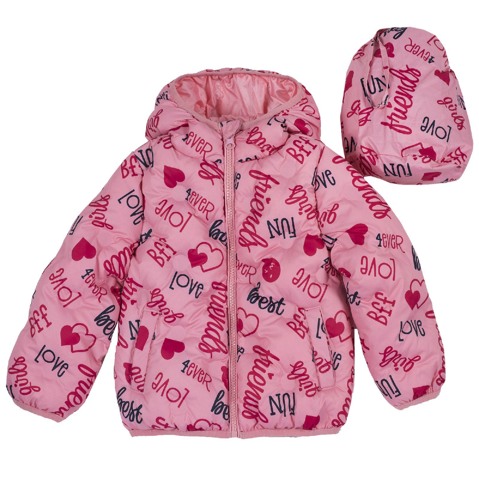 Куртка Chicco, принт 4ever Love, для девочек, цвет розовый