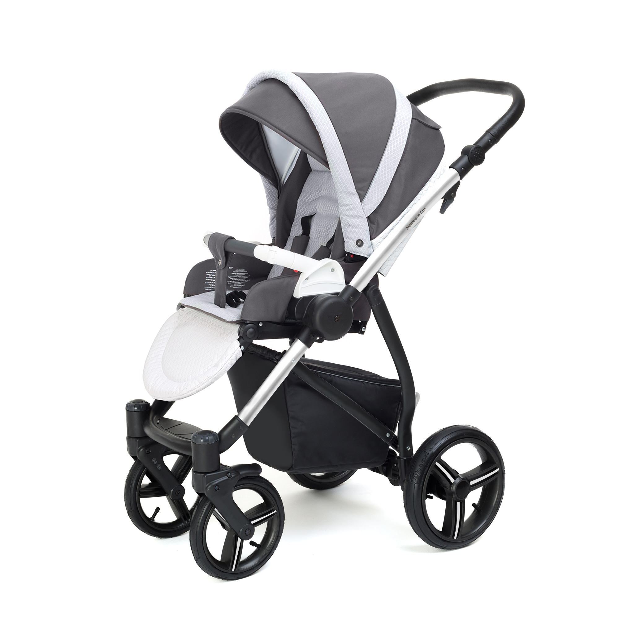 Прогулочная коляска Esspero Grand Newborn Lux (шасси Chrome) Royal Light Grey