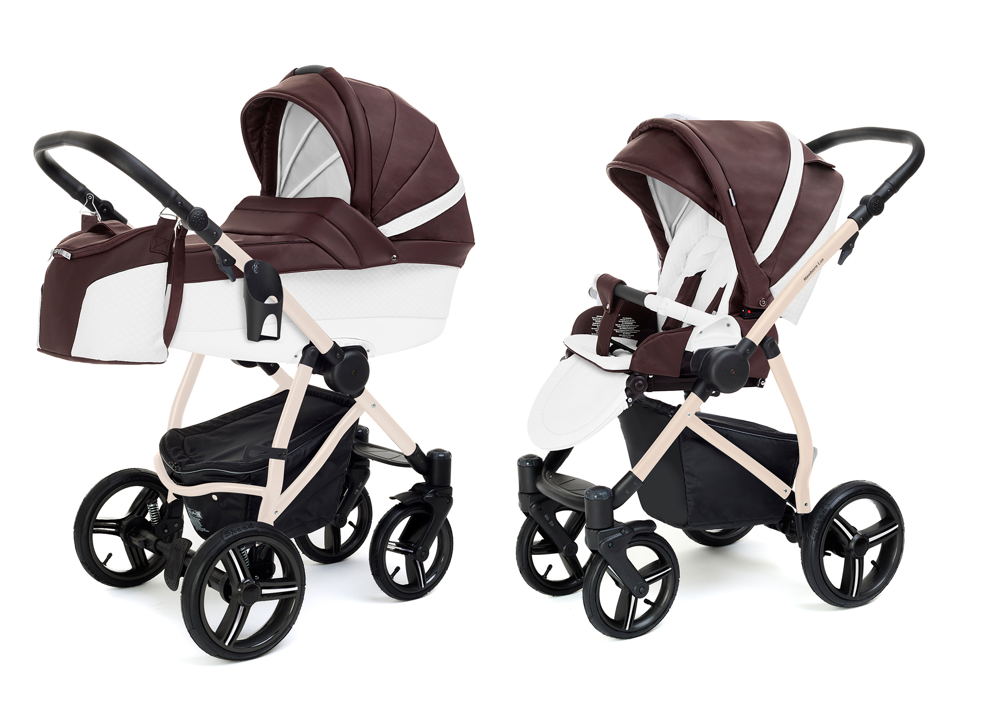 Коляска 2 в 1 Esspero Grand Newborn Lux (шасси Beige) Nappa Brown