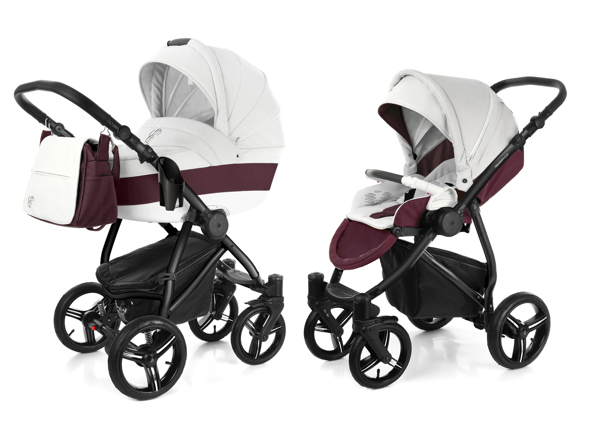 Коляска 2 в 1 Esspero Grand Newborn Lux (шасси Black) Maroon leatherette