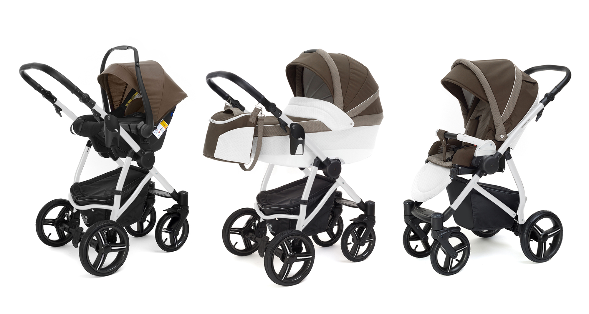 Коляска 3 в 1 Esspero Grand Newborn Lux (шасси White) Royal Brown