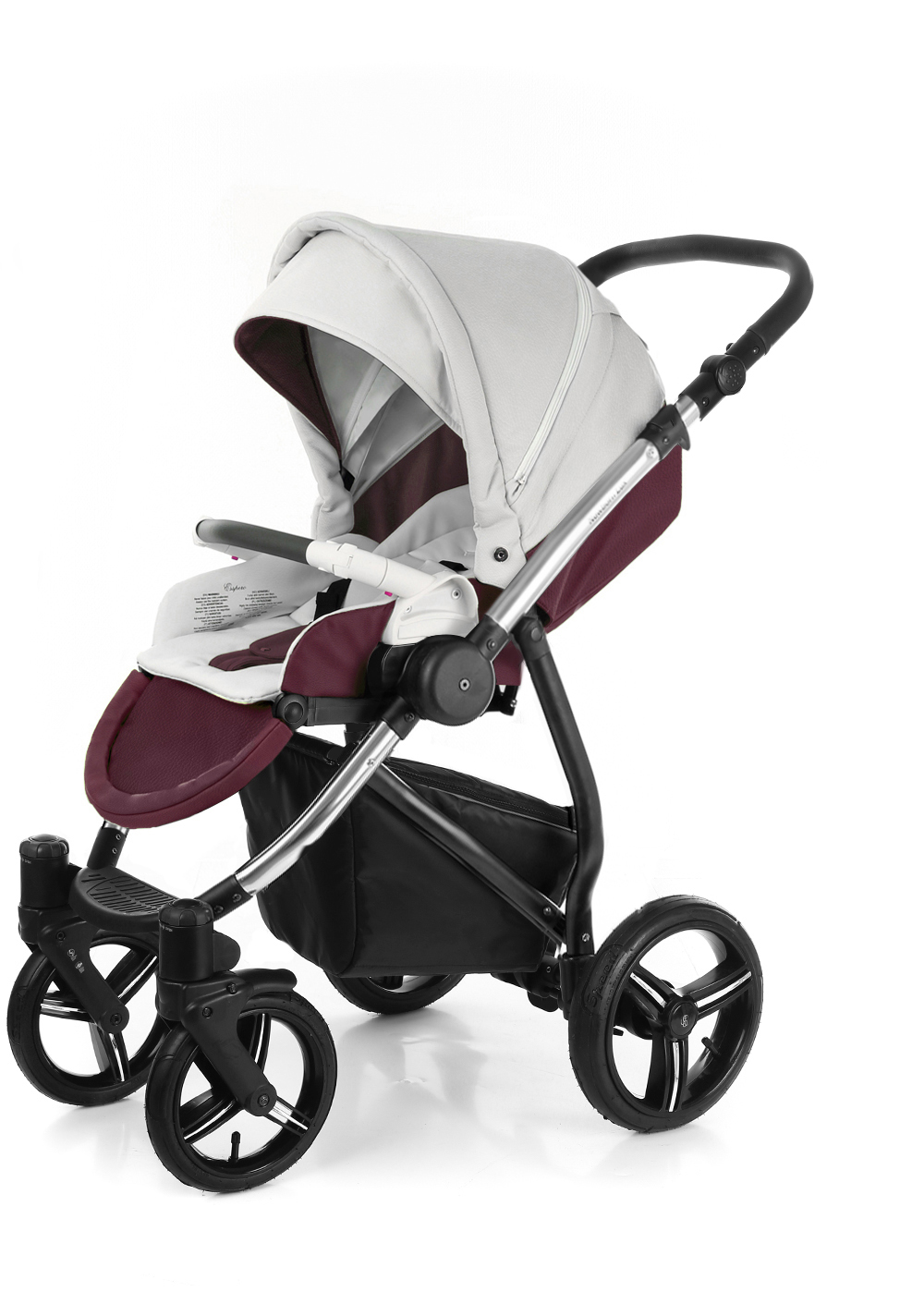 Прогулочная коляска Esspero Grand Newborn Lux (шасси Chrome) Maroon leatherette