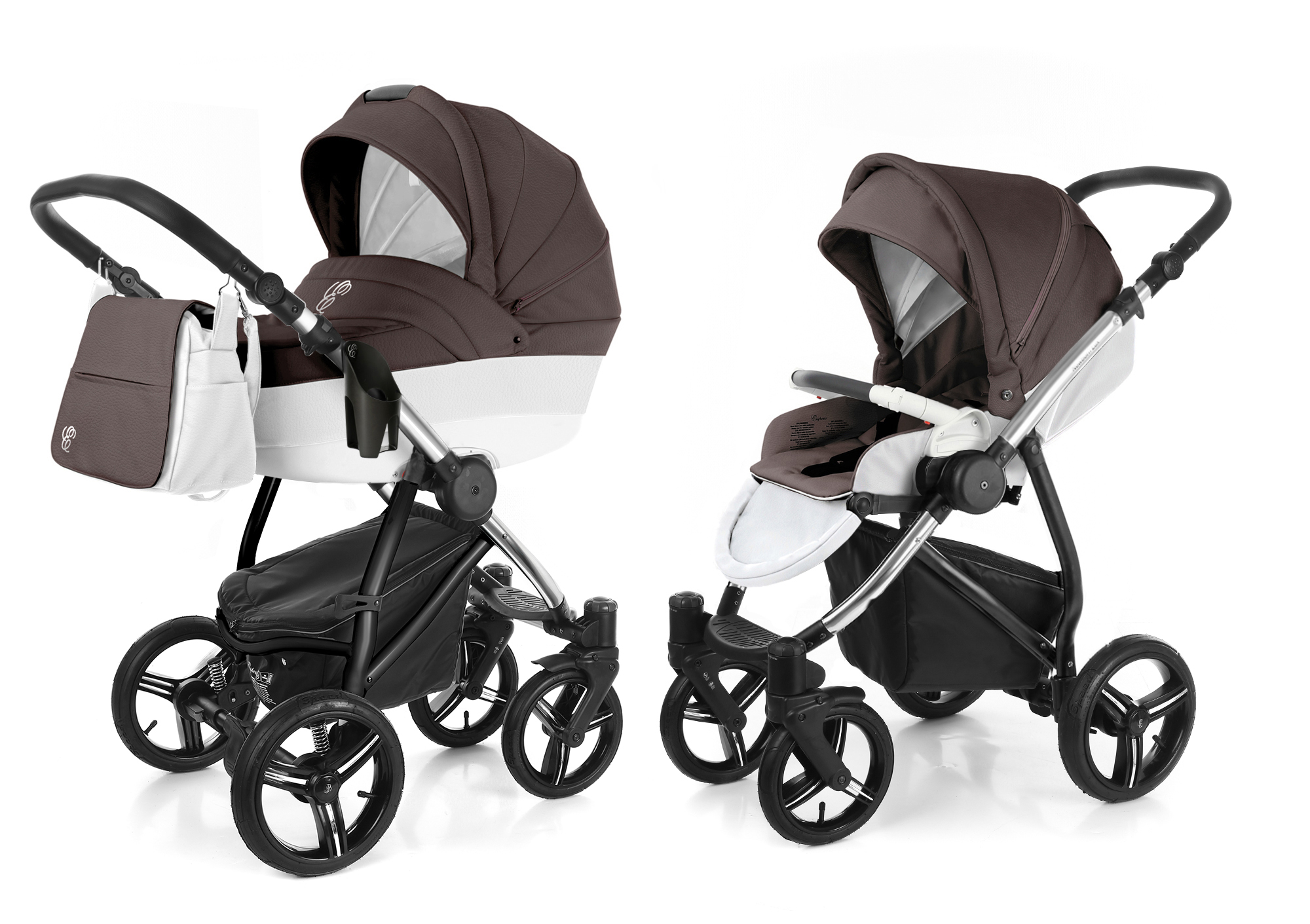 Коляска 2 в 1 Esspero Grand Newborn Lux (шасси Chrome) Cacao leatherette