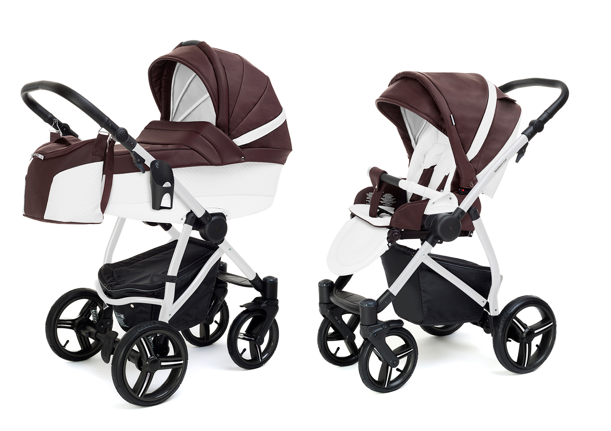 Коляска 2 в 1 Esspero Grand Newborn Lux (шасси White) Nappa Brown
