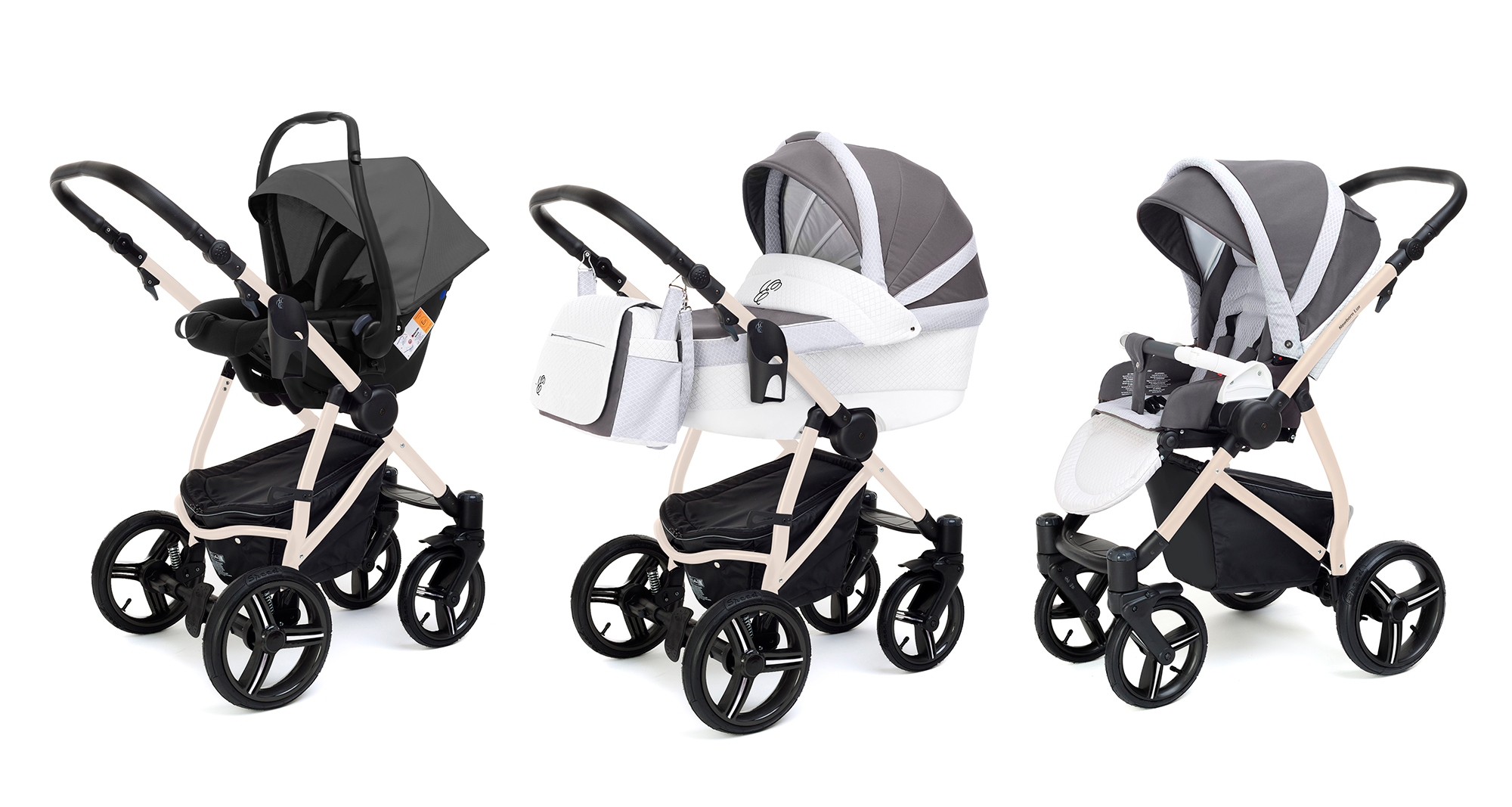 Коляска 3 в 1 Esspero Grand Newborn Lux (шасси Beige) Royal Light Grey