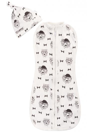 Комплект для новорожденного из двух предметов Веселый Малыш Профессор (пеленка-кокон,шапочка)
