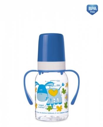 Бутылочка Canpol Cheerful animals трит., с ручк., с сил. соской, 120 мл, 3+, арт. 11/823prz