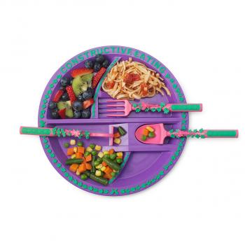Тарелка Constructive Eating. Серия Волшебный сад фиолетовый (с логотипом огорода)