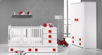 Детская кроватка-трансформер Trama Branco Mate / Vermelho серия Combi Light