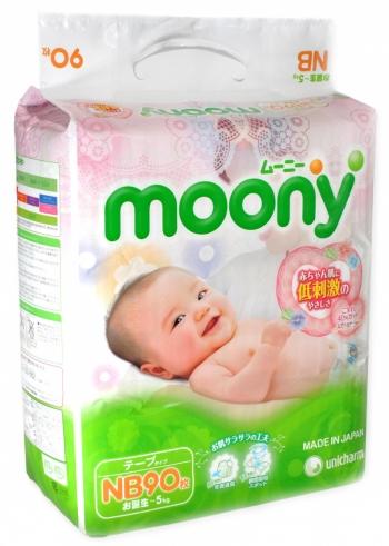 Подгузники Moony до 5 кг. 90 шт. (NB)
