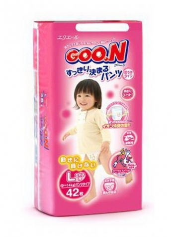 Трусики Goon Гун для девочек 9-14 кг. 42 шт. (L)