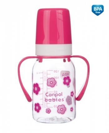 Бутылочка Canpol тритановая, с ручками, сил. соска, 3+ мес., 120 мл, арт. 11/821prz