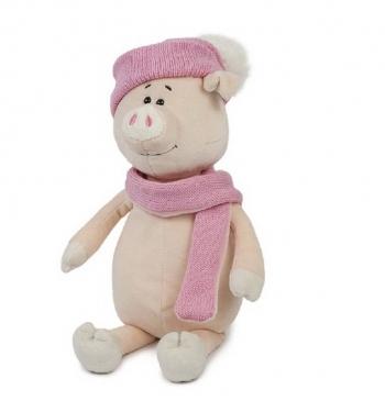 Мягкая игрушка Maxi Toys Свинка Глаша в Шапке и Шарфе, 28 см