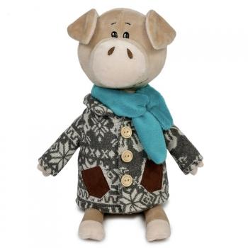 Мягкая игрушка Maxi Toys Свин Витя в Пальто с Оленями, 27 см