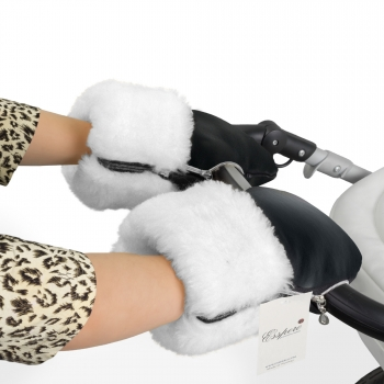 Муфта-рукавички для коляски Esspero Double White Leatherette (Натуральная шерсть)