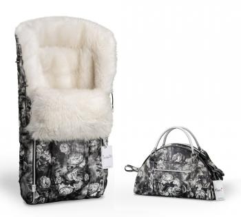 Конверт в коляску меховой Esspero Icelandic Sheep Flowers (натуральный мех) + Сумка на коляску