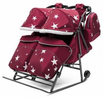 Санки-коляска для двойни Pikate TWIN Звезды