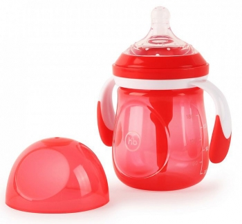 Бутылочка антиколиковая с ручками и силиконовой соской Happy Baby (180 мл.)