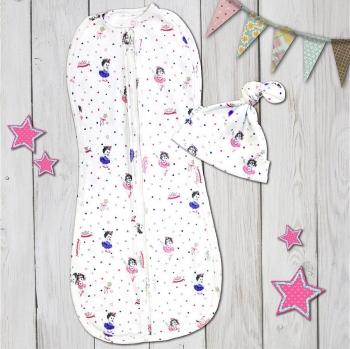 Комплект для новорожденного из двух предметов Веселый Малыш Балет (пеленка-кокон,шапочка)